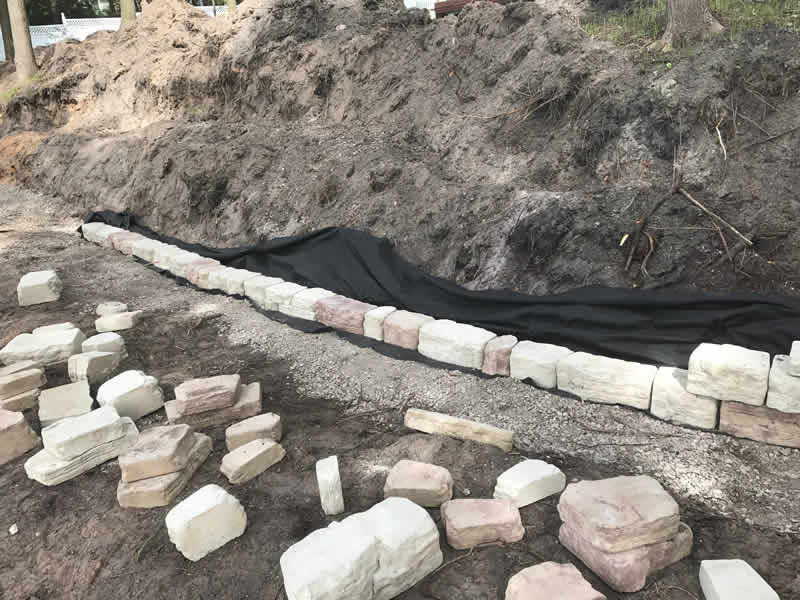 Construction of rock retaining wall